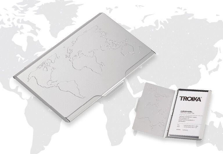 Visitenkartenetui Mit Weltkartenprägung Troika Onlineshop Gmbh